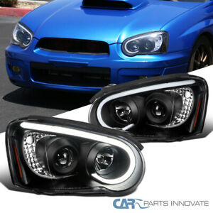 For 04 05 Subaru Impreza Wrx Led Drl Tube Black Projector Head Lamps Signal Pair