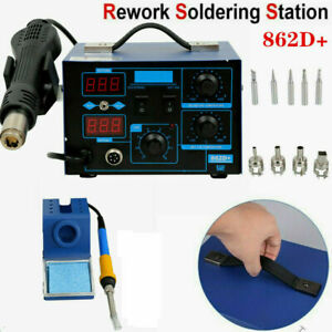 2in1 862d Smd Soldering Iron Hot Air Rework Station Led Display W 4 Nozzle 110v