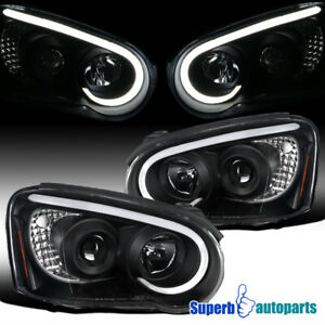 For 2004 2005 Subaru Impreza Wrx Black Led Drl Strip Projector Headlights