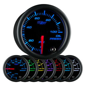 Glowshift 52mm Universal Black 7 Color Oil Pressure Gauge 0 100 Psi