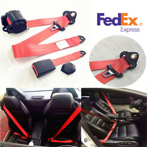 1 Set Universal Red 3 Point Adjustable Car Safety Seat Belt Lap