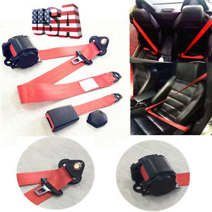 1x red retractable car 3 Point Seat belt lap buckle kit w quick release camlock