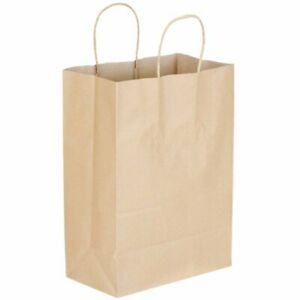 Shopping Bags With Handle Natural Brown Kraft Paper 10 X 5 1 2 X 13 1 4