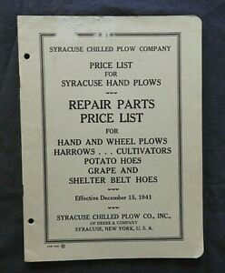 1942 John Deere Syracuse Chilled Plow Price List Manual Hand Plows Potato Hoes