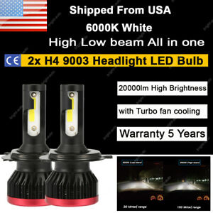 Auxito Led 9003 H4 Headlight Kit High Low Beam Bulbs 100w 6000k White 20000lm 2x