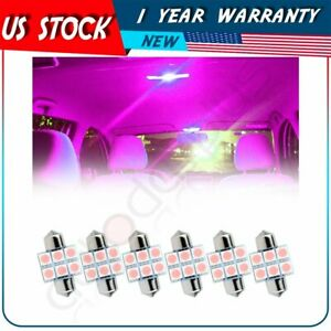 6x Purple 31mm 6 Smd 5050 Car Working Bulbs Interior Festoon Led Lights Lamps
