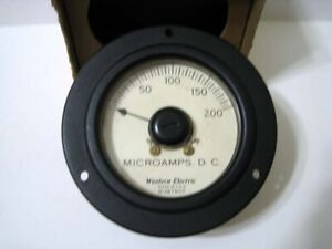 Western Electric 0 200 Dc Microamperes D 167807 Round Black Panel Meter