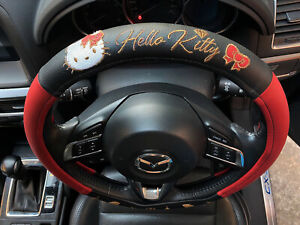 Hello Kitty Sanrio Car Truck Steering Wheel Cover Black Faux Leather Pvc Party