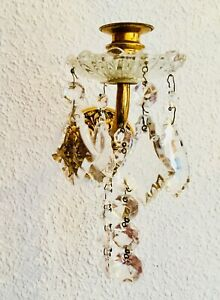 7 Pair Antique Wall Sconce Brass Glass Crystal Ornate Chandelier Spanish French