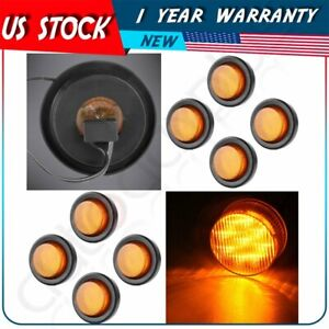 8x 2 Amber Round Clearance Side Marker Light 9 Led W Grom For Trailer Truck
