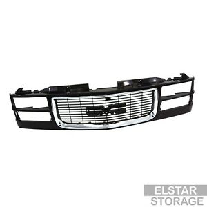 Chrome Trim Black Grille For 94 95 96 97 98 Gmc Sierra C k Truck Composite Type