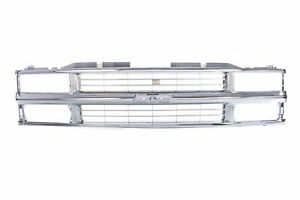 All Chrome Grille W Insert For 94 95 96 97 98 Chevy C K Truck Suburban Tahoe