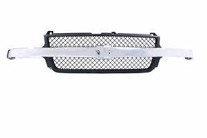 Black Grille W Chrome Bar Molding For 01 02 Chevy Silverado 2500 3500 Hd Pickup