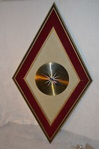 Wall Clock Sears Roebuck Diamond Mid Century Modern Danish Modern Wood
