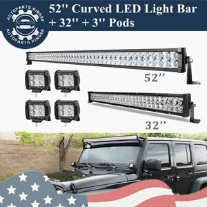 52inch Led Light Bar Curved 32in Combo 4 Pods Offroad Tractor Driving For Jeep