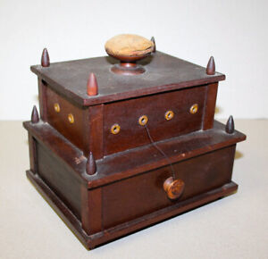 Victorian 1850 S Antique Sewing Thread Box And Pin Cushion