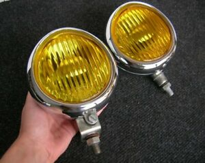 2 Hassia Germany Fog Lights Amber Yellow Chrome Hella Porsche 356 Vw Beetle Nos