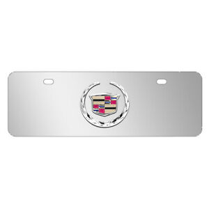 Cadillac 3d Logo Mirror Chrome 12 x4 Half size Stainless Steel License Plate