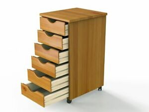 6 Drawer Rolling Cabinet Wooden Storage Organize For Home Office File Cabinet