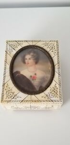 Vintage Antique Bone Inlayed Jewelry Box With A Signed Woman Portrait Germany