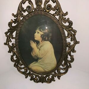 Brass Ornate Metal Oval Picture Frame Girl Praying Picture Convex Bubble Dome