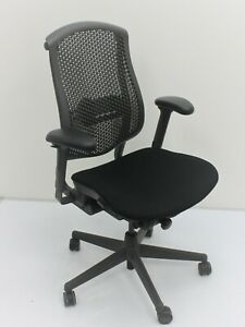 Herman Miller Celle Chair With Upholstered Seat Semi Adjustable Ergonomic Aeron