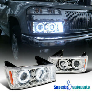 For 2004 2012 Chevy Colorado Canyon Dual Halo Projector Headlights Led Drl