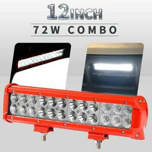 Dual Row 12inch 72w Led Work Light Bar Flood Spot Combo Offroad Truck Suv Boat
