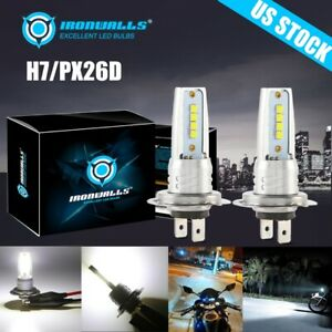 H7 Motorcycle Led Headlights Bulbs Kit High Low Beam 100w 10000lm 6000k White