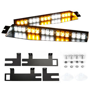 34 30 Led Emergency Warning Visor 26 Flash Strobe Light Bar Amber