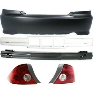 Bumper Cover Kit For 2004 2005 Honda Civic Rear 2 Door Coupe 5pc