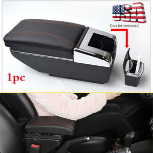 1x Universal Pu Leather Car Central Container Armrest Storage Box W Cup Holder