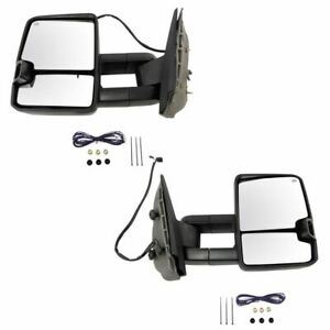 Tow Mirror Power Heated Signal Spotlight Textured Black Pair For 07 14 Gm Truck