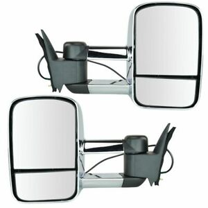 Towing Mirror Power Chrome Pair Set For Chevy Gmc C k Pickup Truck Suv New