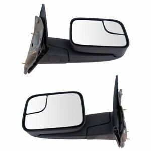 Towing Mirror Manual Textured Black Pair Set For Dodge Ram Pickup Truck New