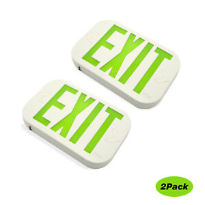 Led Emergency Green Exit Sign Lighting Battery Backup By Ni cd