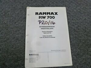 Rammax Rw700 Trench Compactor Parts Catalog Owner Operator Maintenance Manual