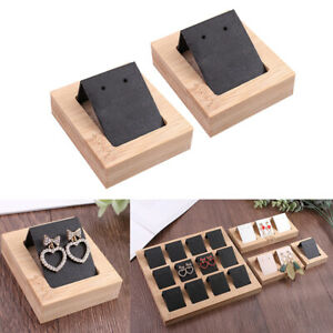 2 Lot Earring Card Holder With Bamboo Tray Showcases Organizer Accessories