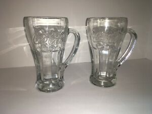VINTAGE LIBBEY Coca-Cola Thick Clear 14 oz. Glass Mugs w/ Handles Set of 2