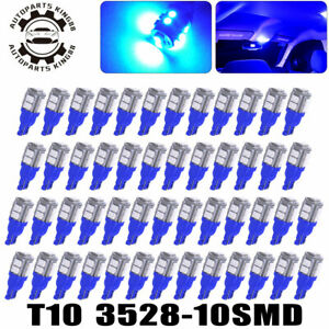 50x 8000k Blue T10 10 Smd Led Dome Map Cargo Trunk Interior Light Bulbs 192 194
