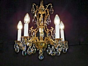 Antique French 5 Arm 5 Lite Extra Fussy Brass Birdcage Lead Crystal Chandelier