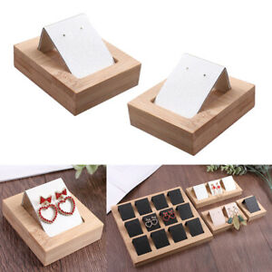 Lots 2 Paper Earring Card Holder W Bamboo Tray Organizer Jewelry Accessory