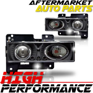 For 1995 1999 Chevrolet Tahoe Halo Projector Headlight Black Clear