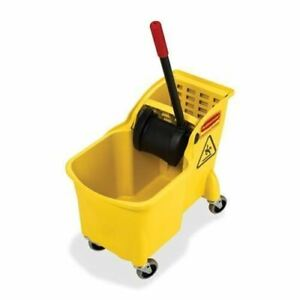 Rubbermaid Tandem Bucket And Wringer Combo 738000yel