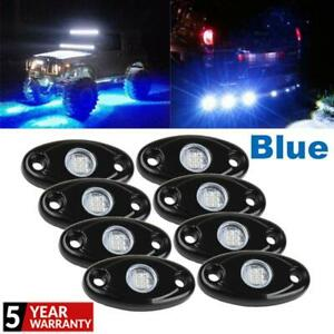 8pcs 9w Led Rock Lights Blue Car Accessories Under Body Under Wheel Universal Us