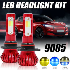 2x 9005 Hb3 Led Fog Driving Lights Bulbs Dual Color Strobe Flash Yellow Ice Blue