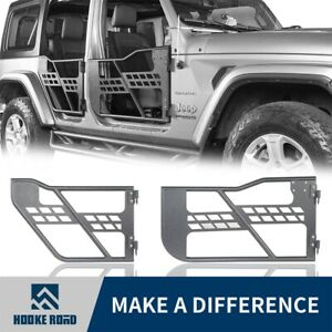 Hooke Road Black Steel Tubular Doors Guards Fit 2018 2020 Jeep Wrangler Jl