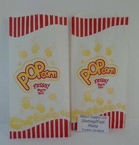 Popcorn Snack 1 5 Oz Paper Bags Concession Machine Supplies 5 X 10 Carnival