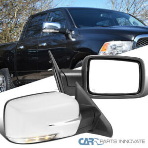 For 09 12 Dodge Ram 1500 Chrome Power Heat Side Mirrors Pair Led Signal Puddle