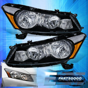 For 08 12 Accord Black Housing Headlights Clear Lens Amber Reflector Front Lamp